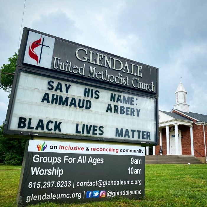 Say His Name Ahmaud Arbery - Glendale United Methodist Church Sign in Nashville TN