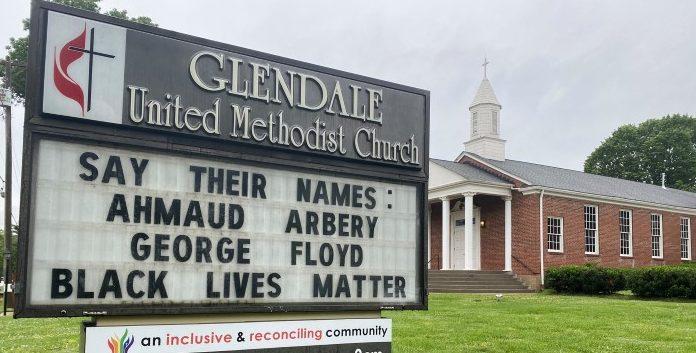 Say Their Names Ahmaud Arbery and George Floyd - Glendale United Methodist Church Sign in Nashville TN (Custom)